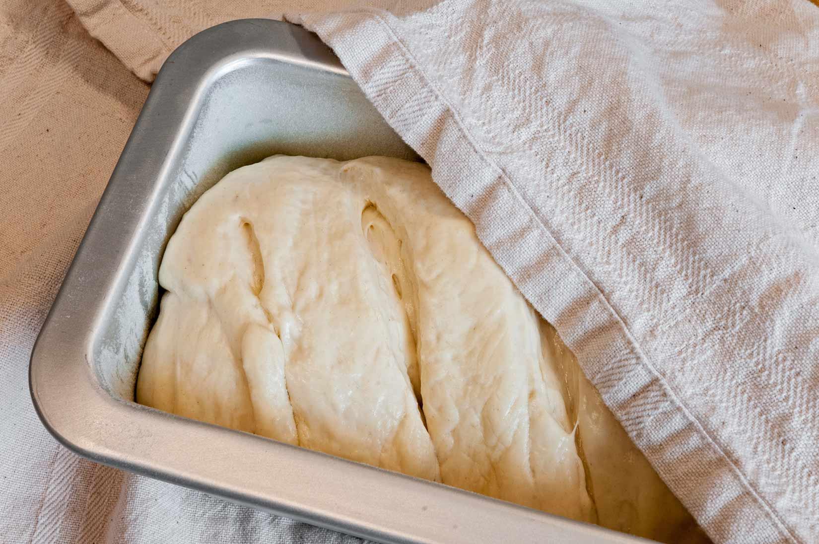 Syrový chléb dejte znovu na 1/2 hodiny kynout na teplé místo
