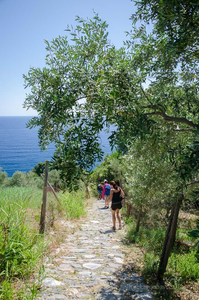 .... odkud pokračujeme kamennou stezkou k pláži ...