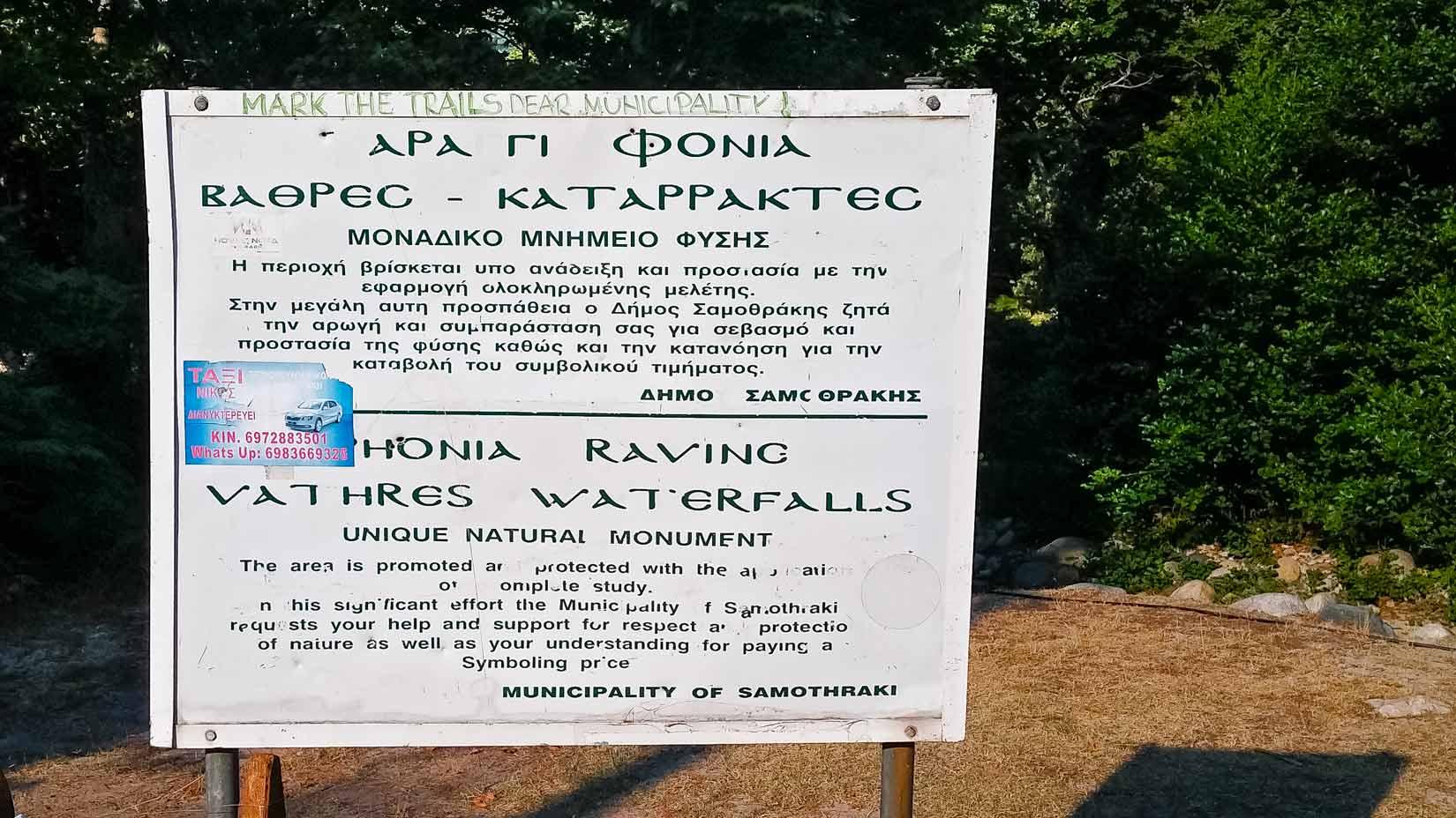 Parkoviště - počátek stezky údolím Fonias