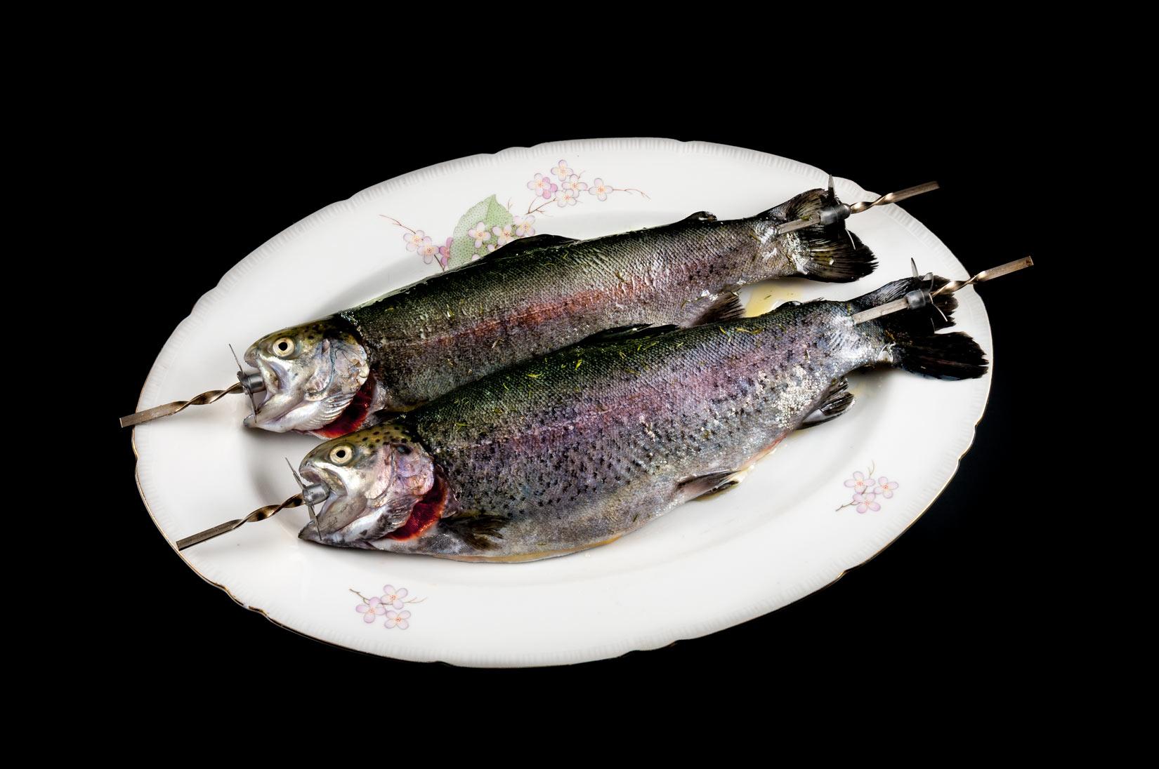 Ryby napíchneme na grilovací jehly