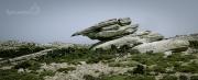 na západě naleznete kameny různých UFO tvarů. Tento balvan nám připomínal tank :)