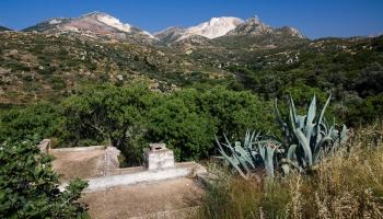 zelené vnitrozemí Naxu a mramorová hora na pozadí... opravdu různorodá krajina!