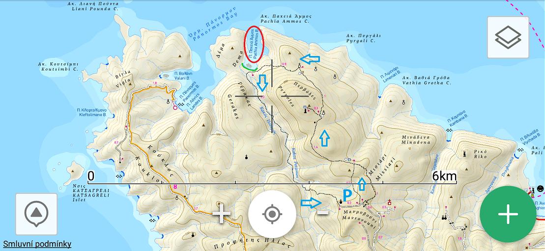 Náhled mapy Terrainmaps v mobilní aplikaci ViewRanger