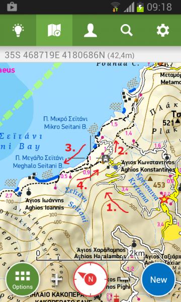 """ukázka cesty k Seitani z mapy Terrain v našem mobilu s GPSkou...více info o mapách najdete v sekci """"Rady na cesty"""" ;)"""