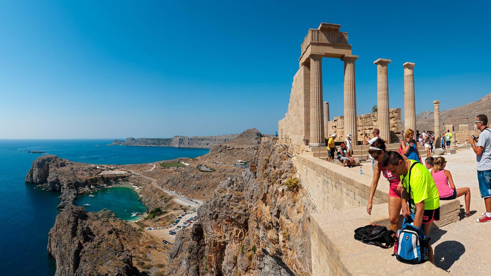 Acropole Lindos a zátoka Svatého Pavla