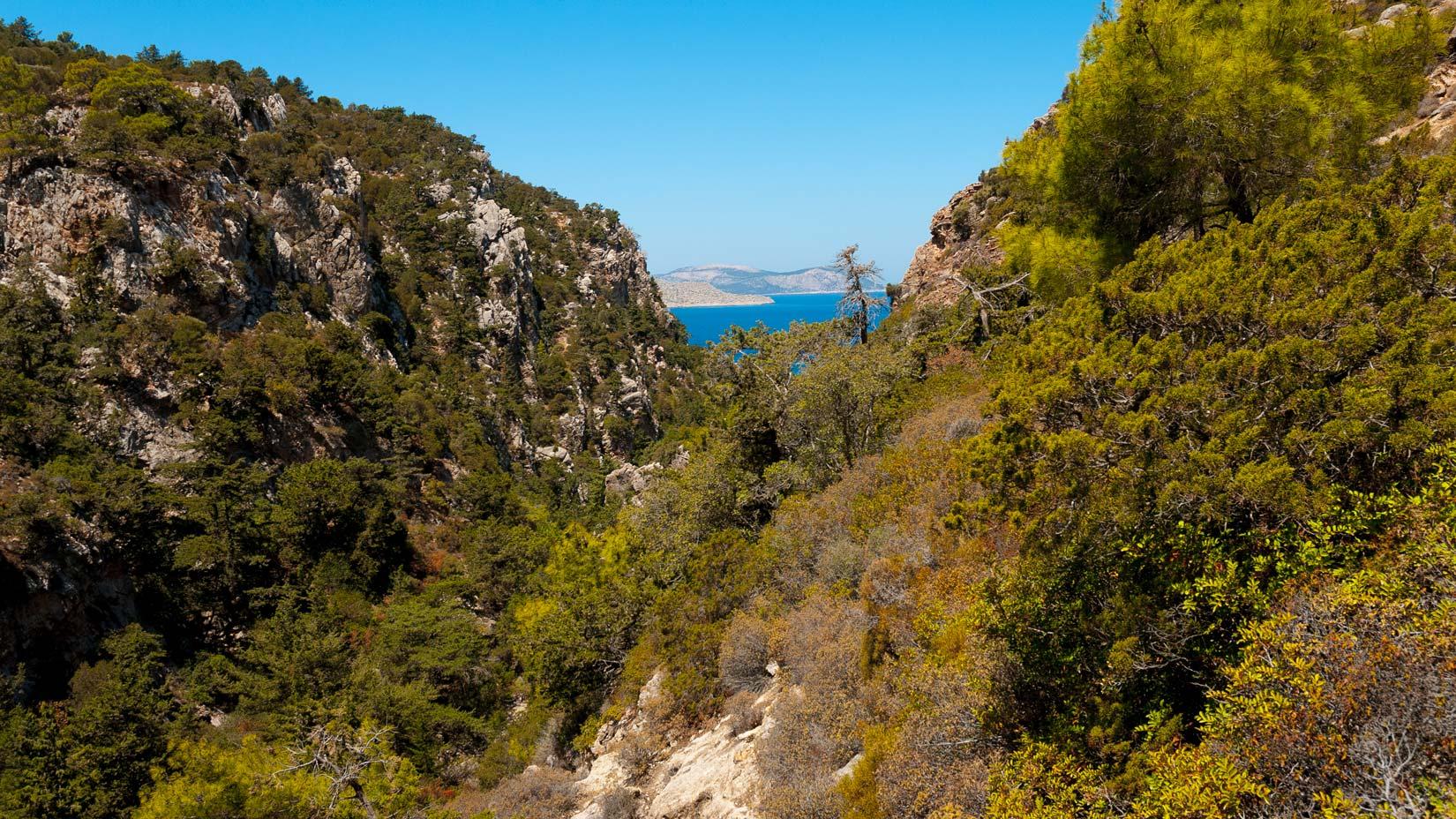 Úzkou pěšinou značenou červenými puntíky se dostanete po strmém svahu hlubokého údolí Vouria k divoké pláži
