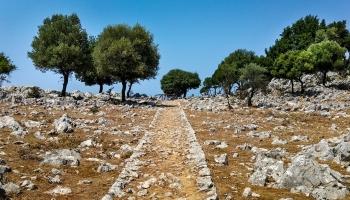 Ani se nechce věřit, že nám někdo před desetiletími v divoké pustině na vrcholu Profitís Ilias vybudoval takovýto přírodní chodník
