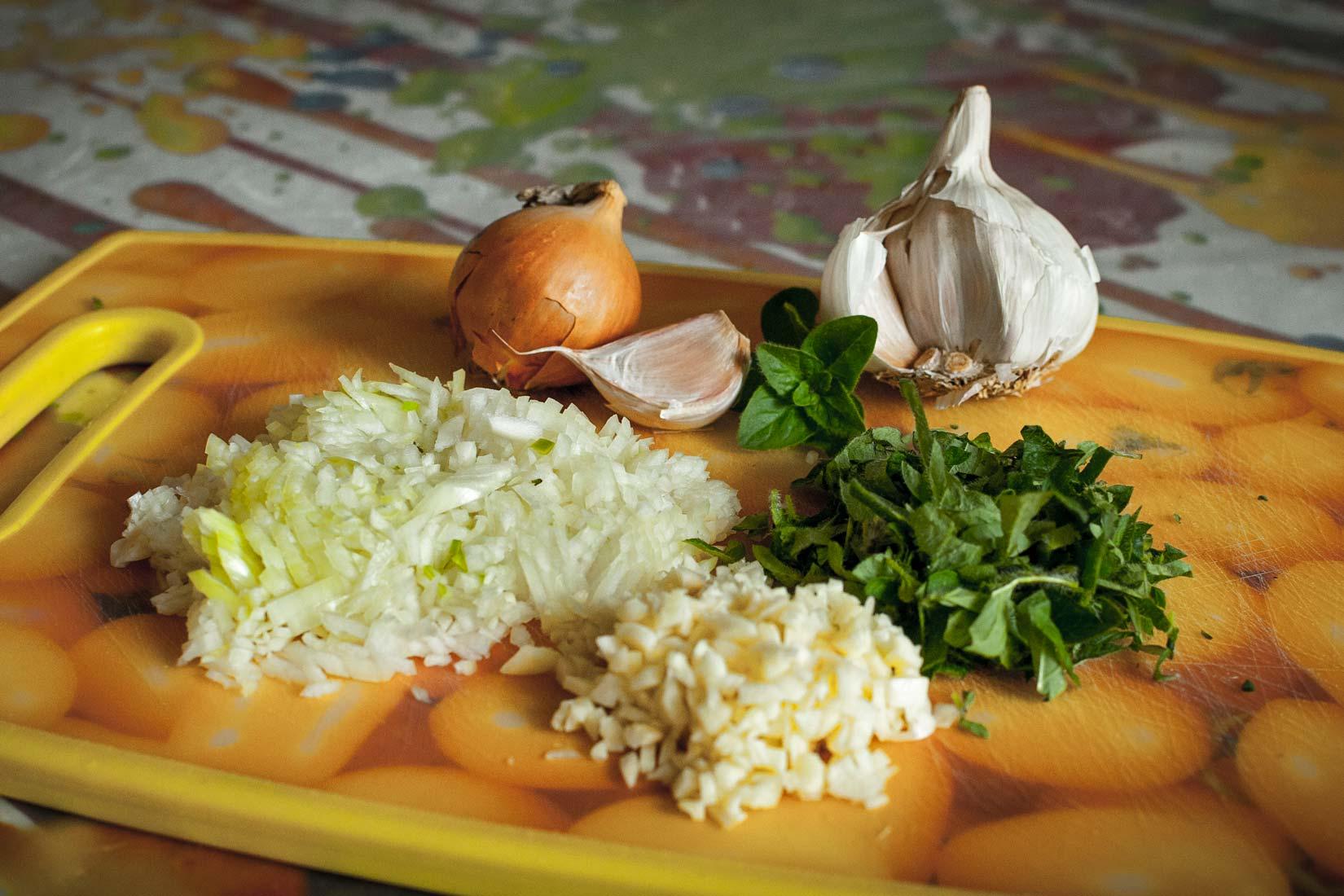 Nezbytné ingredience - cibule, česnek a oregano