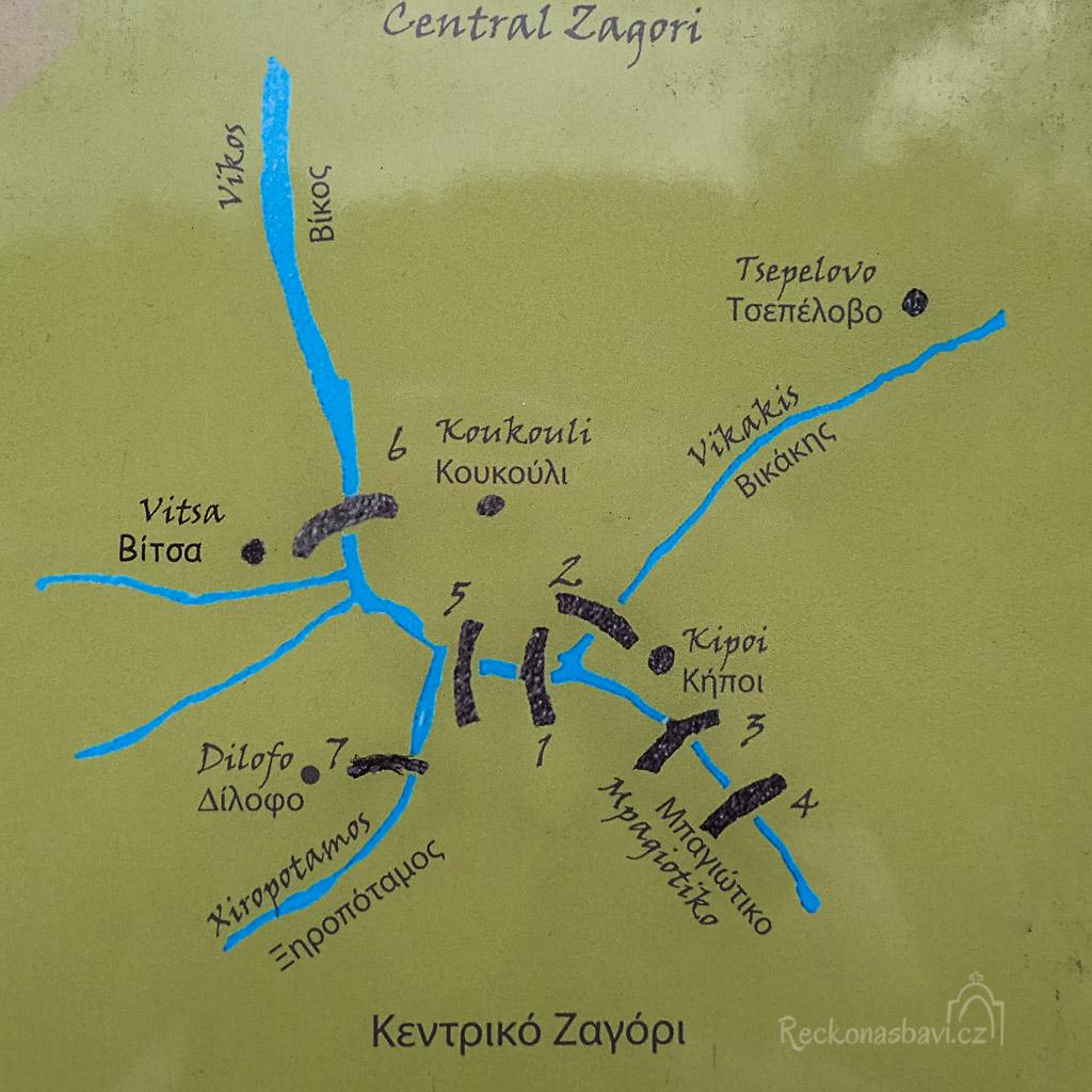 Nejvíce kamenných mostů v relativně blízké vzdálenosti mezi sebou najdeme v soutoku řek mezi vesničkami: Vitsa, Dilofo, Koukoli a Kipoi (Kipi).
