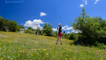 ... ocitáme se pod kopcem na rozkvetlé louce. Ten kontrast zelené louky, žlutých květů a modrého nebe nás až tahá za oči...