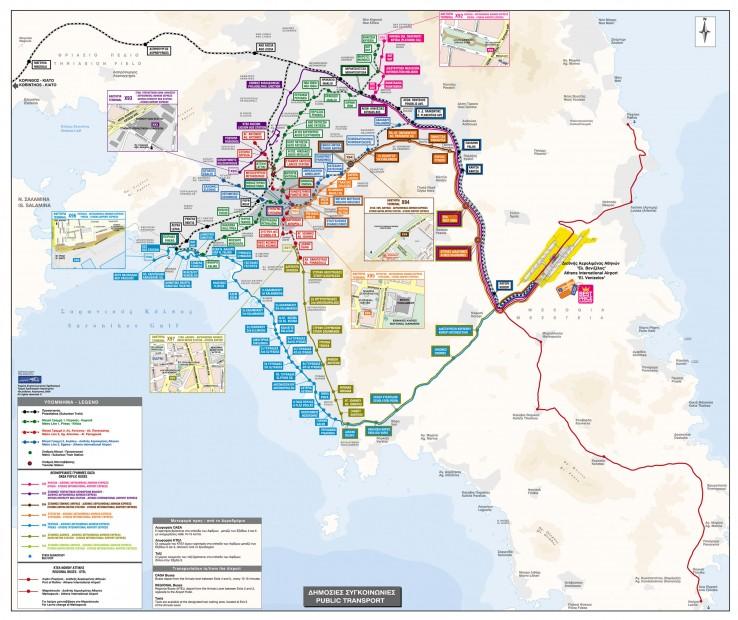 Athény - mapa veřejné dopravy