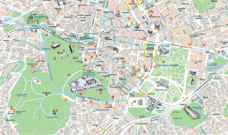 Athény - mapa města