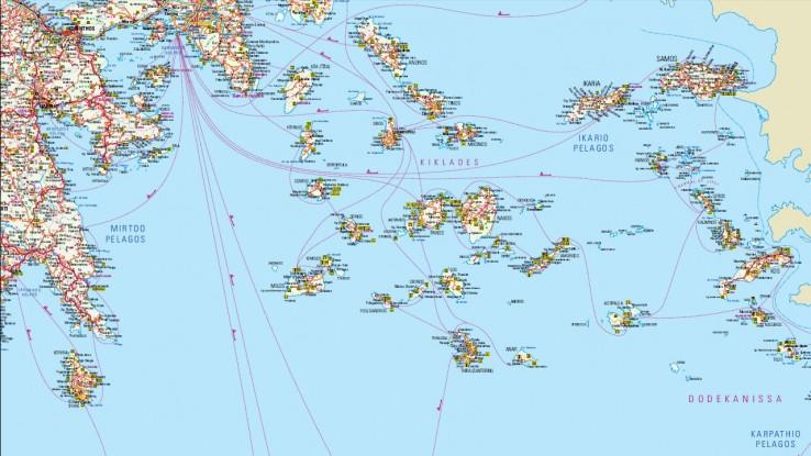mapa jižní části Řecka