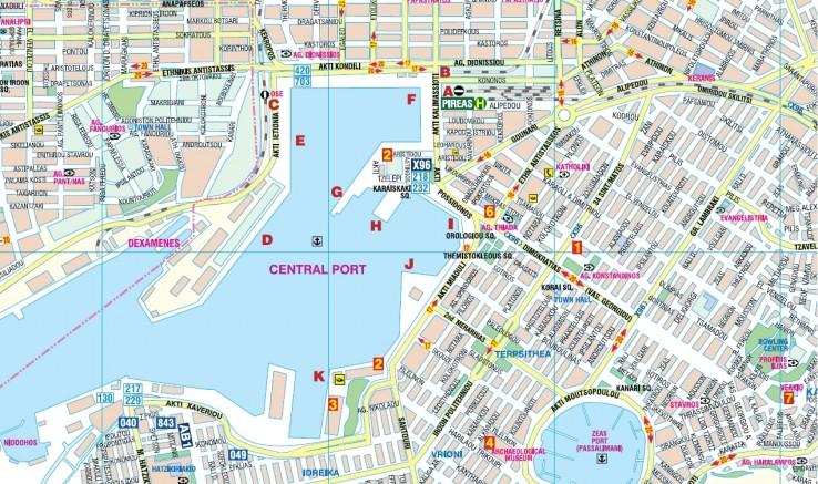 Piraeus - mapa hlavního přístavu Řecka
