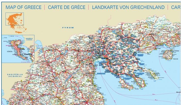 mapa severní a centrální části Řecka