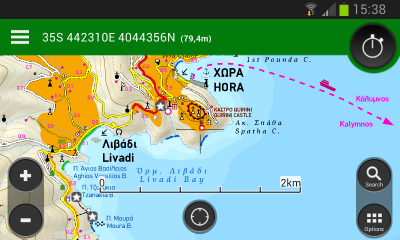 Aplikace Viewranger GPS s mapovými podklady Terrain