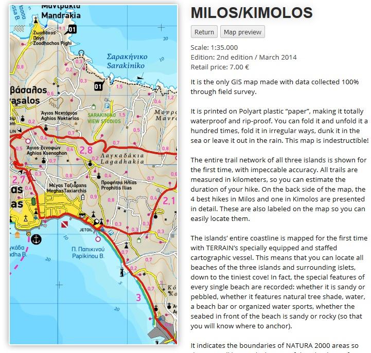 Ukázka mapy ostrova Milos