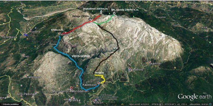 kaňon Vikos okružní trek Zagori mapa