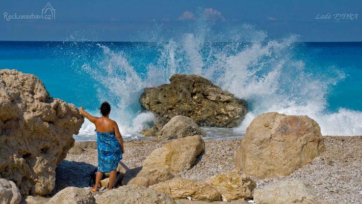 Lefkada, pláž Megali Petra, Milos, Kathisma, Avali, Kavalikefta, Agios Nikitas